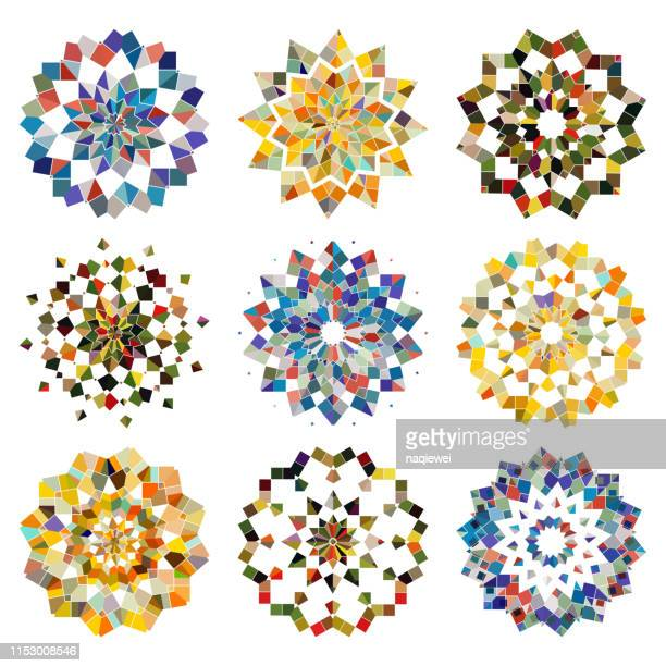 vector colorful mosaic checked pattern mandala collection - mosaic stock illustrations