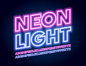 Vector Colorful Neon Light Font