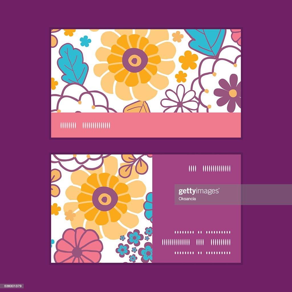 Vecteur Color De Fleurs Oriental Motif Rayures Horizontales Cartes Visite Clipart Vectoriel