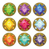 Vector colorful round golden amulets