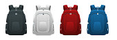 Vector Colorful School Backpacks. Backpacks for schoolchildren, students, travellers and tourists. Back to School rucksack flat vector illustrations isolated on white.