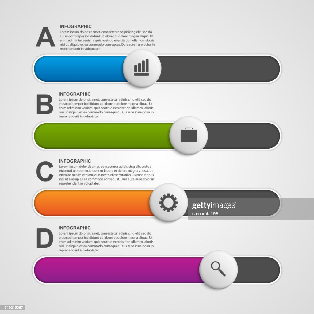 Vector colorful slider business infographic. Design elements.