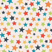 Vector Colorful Stars Seamless Pattern Background
