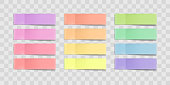 Vector colorful sticky notes, stickers with shadows isolated on a transparent background. Multicolor paper adhesive tape