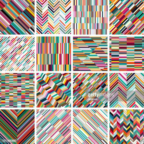 vector colorful stripes pattern backgrounds collection - stage set stock illustrations
