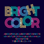 Vector colorful symbol with text Bright Color.