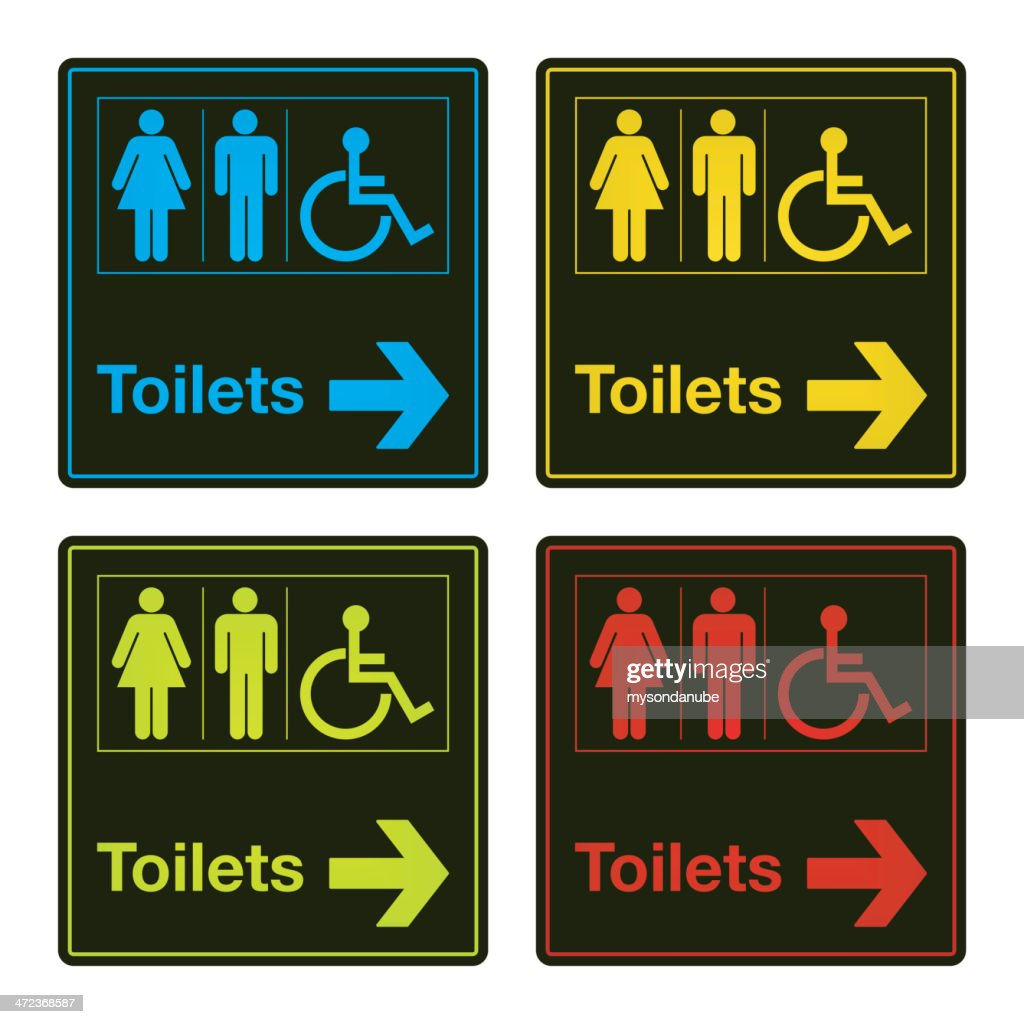 vector colorful toilet sign collection : stock illustration