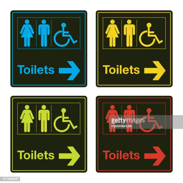 vector colorful toilet sign collection - disability stock illustrations, clip art, cartoons, & icons