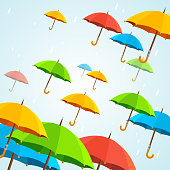 Vector colorful umbrellas fly. Flat Design