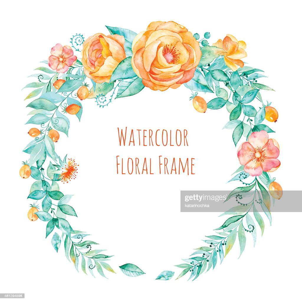 Vector Colorful Watercolor Round Frame Floral Wreath With