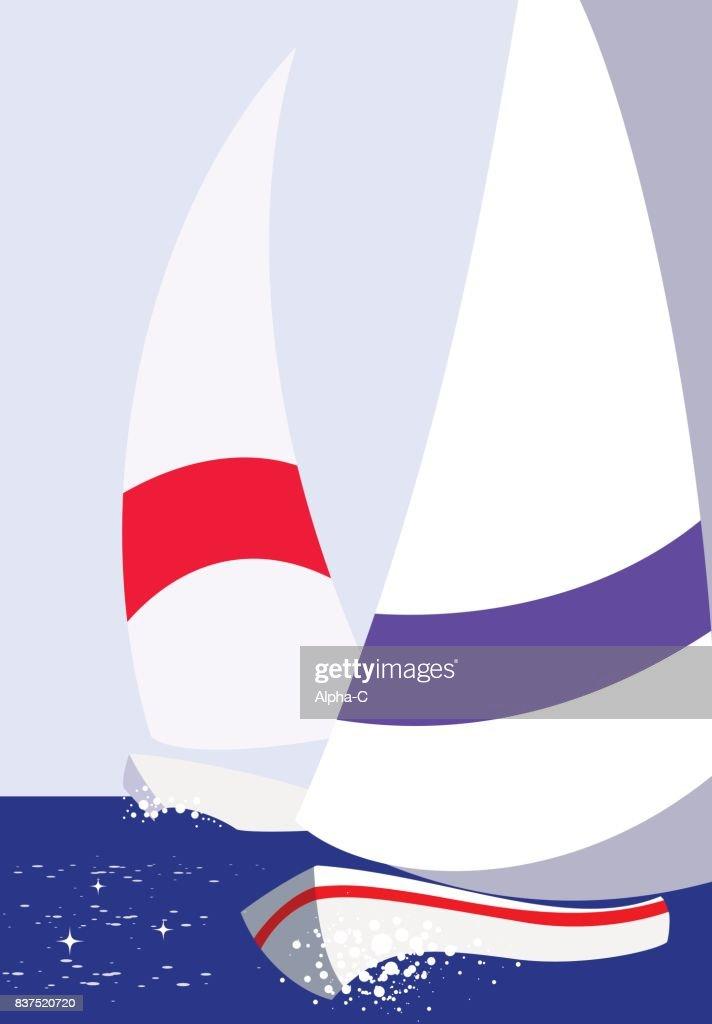 Vector colorful yacht sea