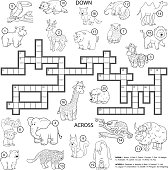 Vector colorless crossword about animals