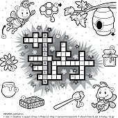 Vector colorless crossword about honey and bees