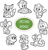 Vector colorless set of Christmas cute cartoon animals