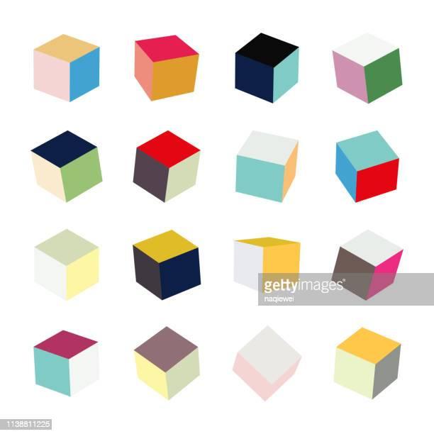 illustrazioni stock, clip art, cartoni animati e icone di tendenza di raccolta di motivi cubo scatola colori vettoriali - illusione