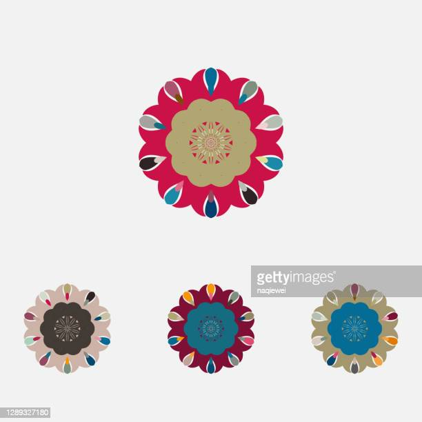 vector colors floral pattern icon collection for design - sports round stock illustrations