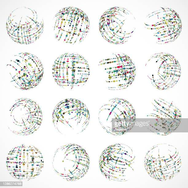 vector colors half tone dots pattern sphere icon collection for design - animated zebra stock illustrations