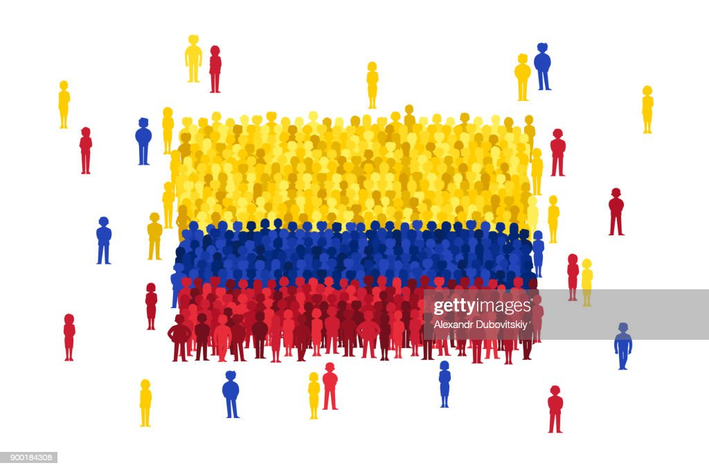 Vector Columbia state flag formed by crowd of cartoon people