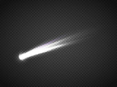 Vector comet with large dust. Falling Star. Glow light effect