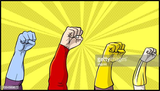 vector comic book superhero fists - comic book stock illustrations