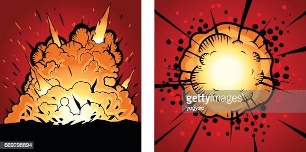 vector comic style explosion - firework explosive material stock illustrations