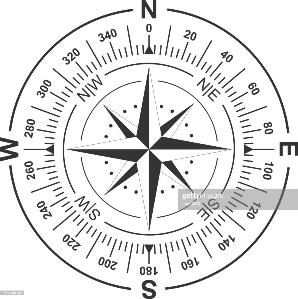 Vector compass and wind rose icon.