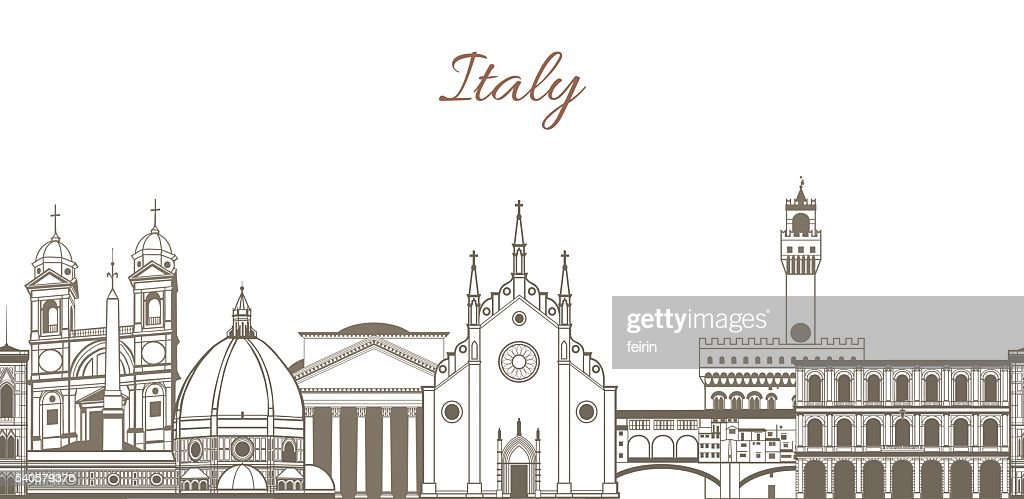 vector composition with famous landmarks of Italy