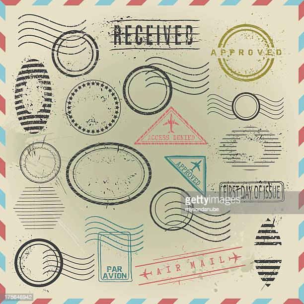 vector computer generated postage stamps - postmark stock illustrations