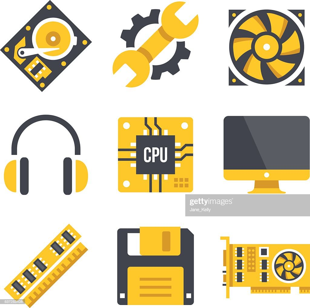 Vector computer hardware icons set. Computer parts, technology, Vector illustration