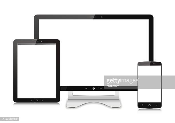 Vector Computer monitor,Digital Tablet and  Smart Phone isolated