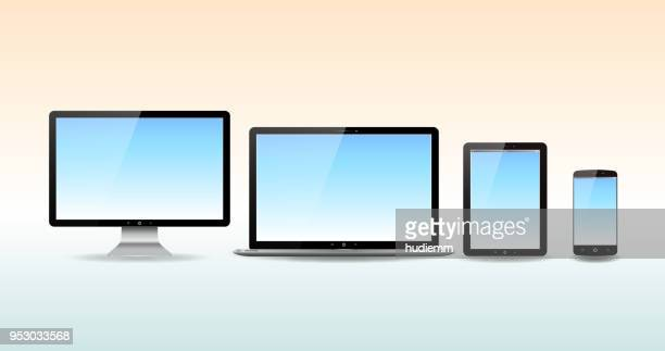 Vector computer monitor,digital tablet ,laptop and smart phone isolated on white