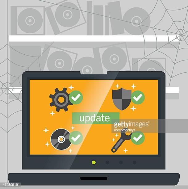 ベクトルコンピューターサポート - ソフトウェアアップデート点のイラスト素材/クリップアート素材/マンガ素材/アイコン素材