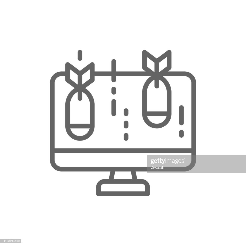 Vector computer with bomb, virus line icon.