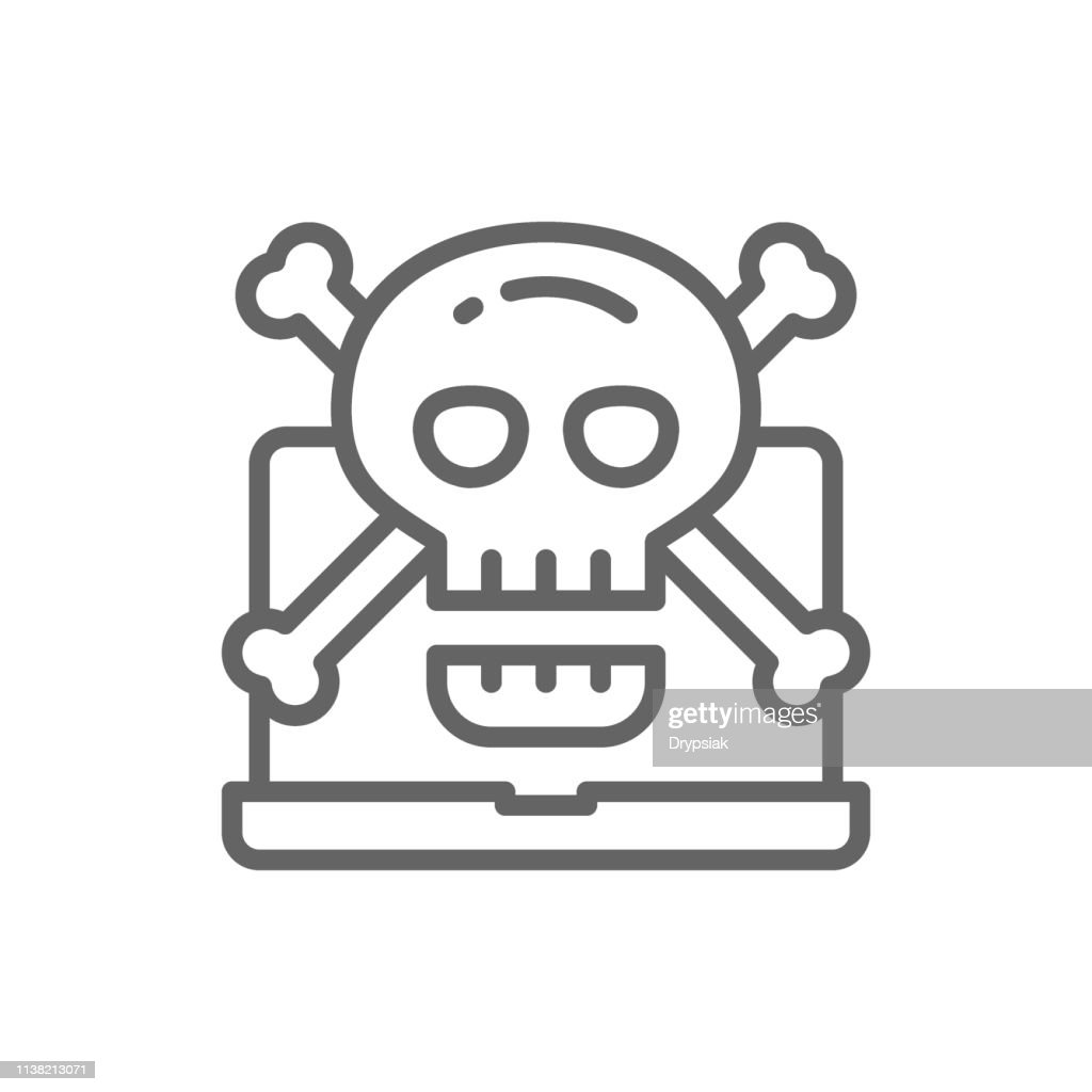 Vector computer with skull and crossbones symbol, virus, phishing scam, ransomware, email fraud, hacker attack, cybercrime line icon.