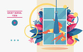 Vector concept banner with young girl doing aerial yoga in hammock
