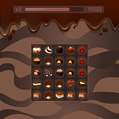 Vector concept illustration game with chocolate candies,