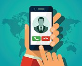 Vector concept incoming call. Hand holding smartphone