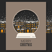 Vector concept of Christmas greeting card cut out of paper.