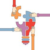 Vector concept of creative teamwork in flat outline style