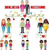 Vector concept of international family tree