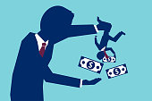 Vector concept of man shaking business partner to take all his money on blue background