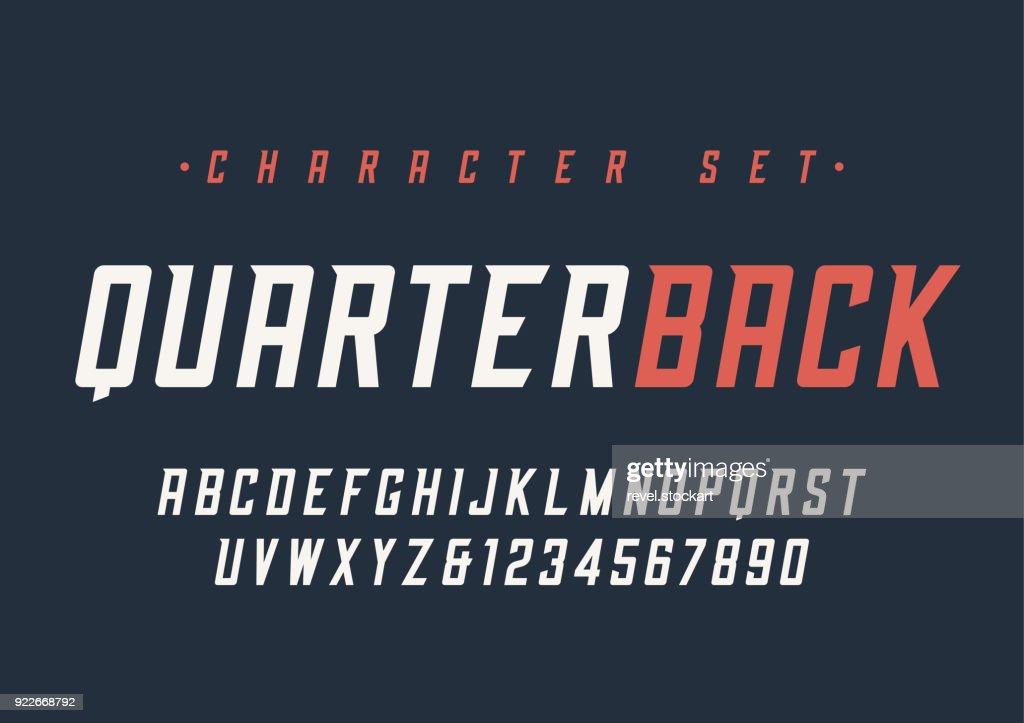 Vector condensed italic dynamic display font design, alphabet, c