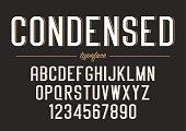 Vector condensed regular font design, alphabet, typeface, typogr
