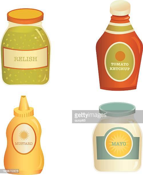 vector condiment set - ketchup stock illustrations, clip art, cartoons, & icons