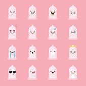 Vector condom emoji set. Funny emoticons.