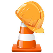 Vector Construction Cone with Helmet