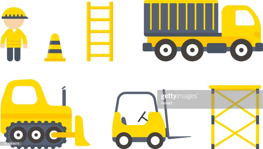 Vector Construction Machines Set