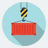 Vector container hanging on crane hook icon