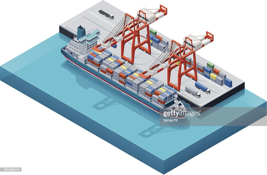 Vector container ship with cranes