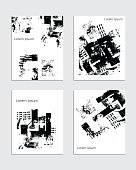 Vector contemporary textured greeting card set. Hand drawn black and white acrylic abstract template for cards, flyers, brochures, business, birthday, anniversary, wedding, party invitation, holidays.